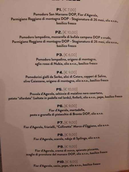 Pizzeria P: il menu